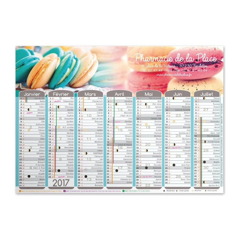 Calendrier mural a3 collection 2017 macarons rubex print for Grand calendrier mural 2017