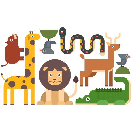 STICKERS ANIMAUX DE LA JUNGLE - PLANCHE 120 X 70 CM