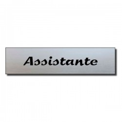 Badge Acrylique argenté 60x15mm, Assistante