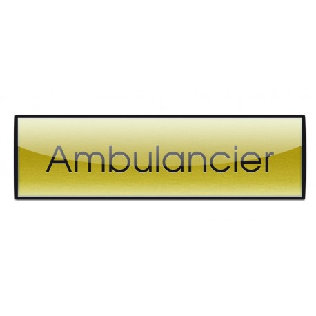 Badge Luxe doré 72x20mm, Ambulancier