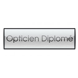 Badge Luxe argenté 72x20mm, Opticien Diplomé
