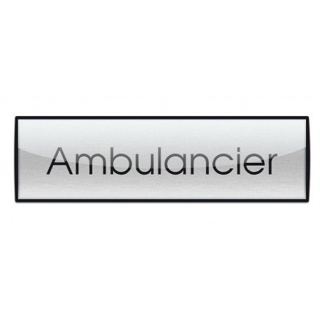 Badge Luxe argenté 72x20mm, Ambulancier