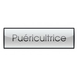 Badge Luxe argenté 72x20mm, Puéricultrice
